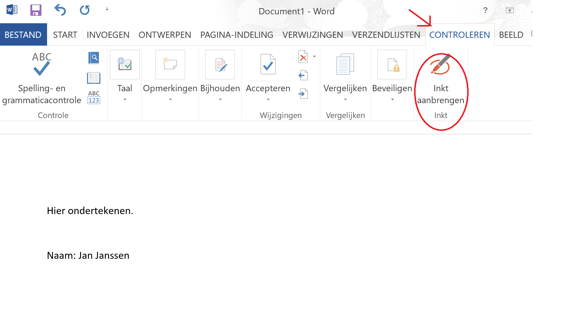 Ondertekenen in Word