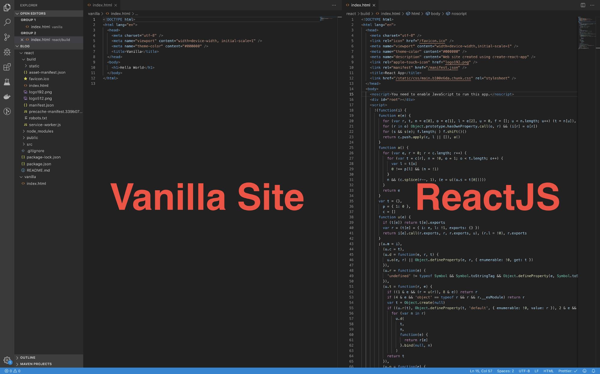 Vanilla versus React